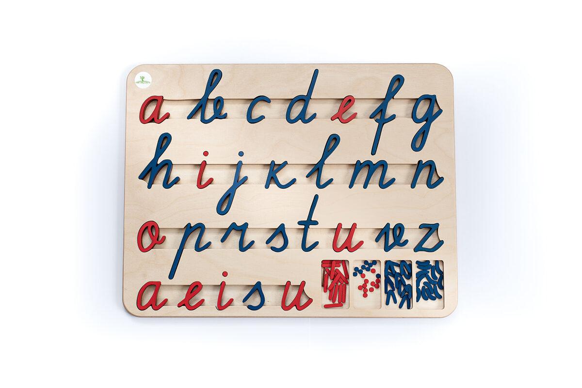 Kustīgais alfabēts - Mazie rakstītie burti paliktnī.