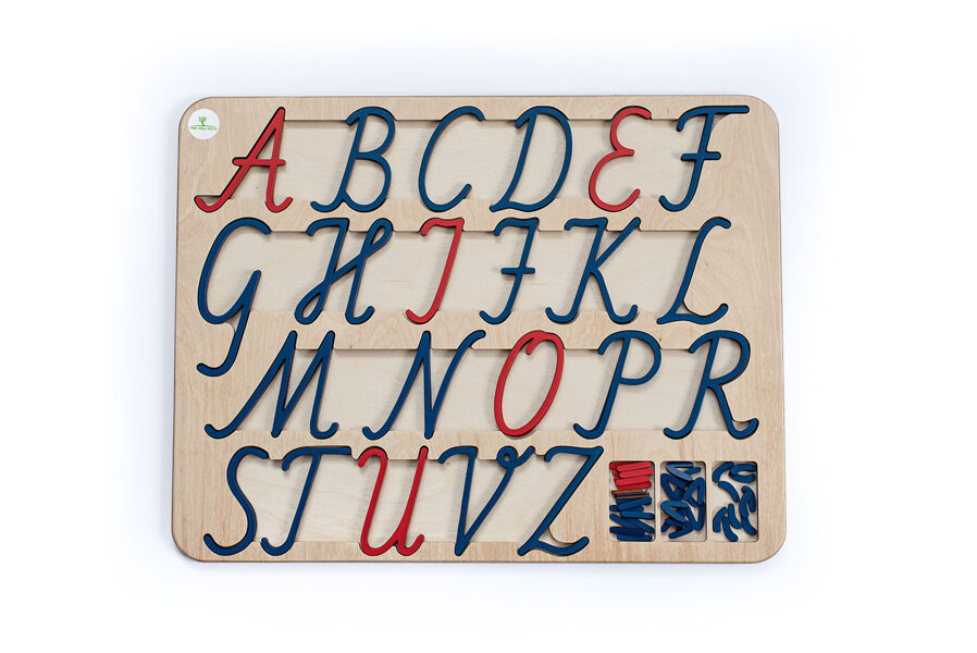 Kustīgais alfabēts - Lielo rakstīto burtu paliktnis un burti.